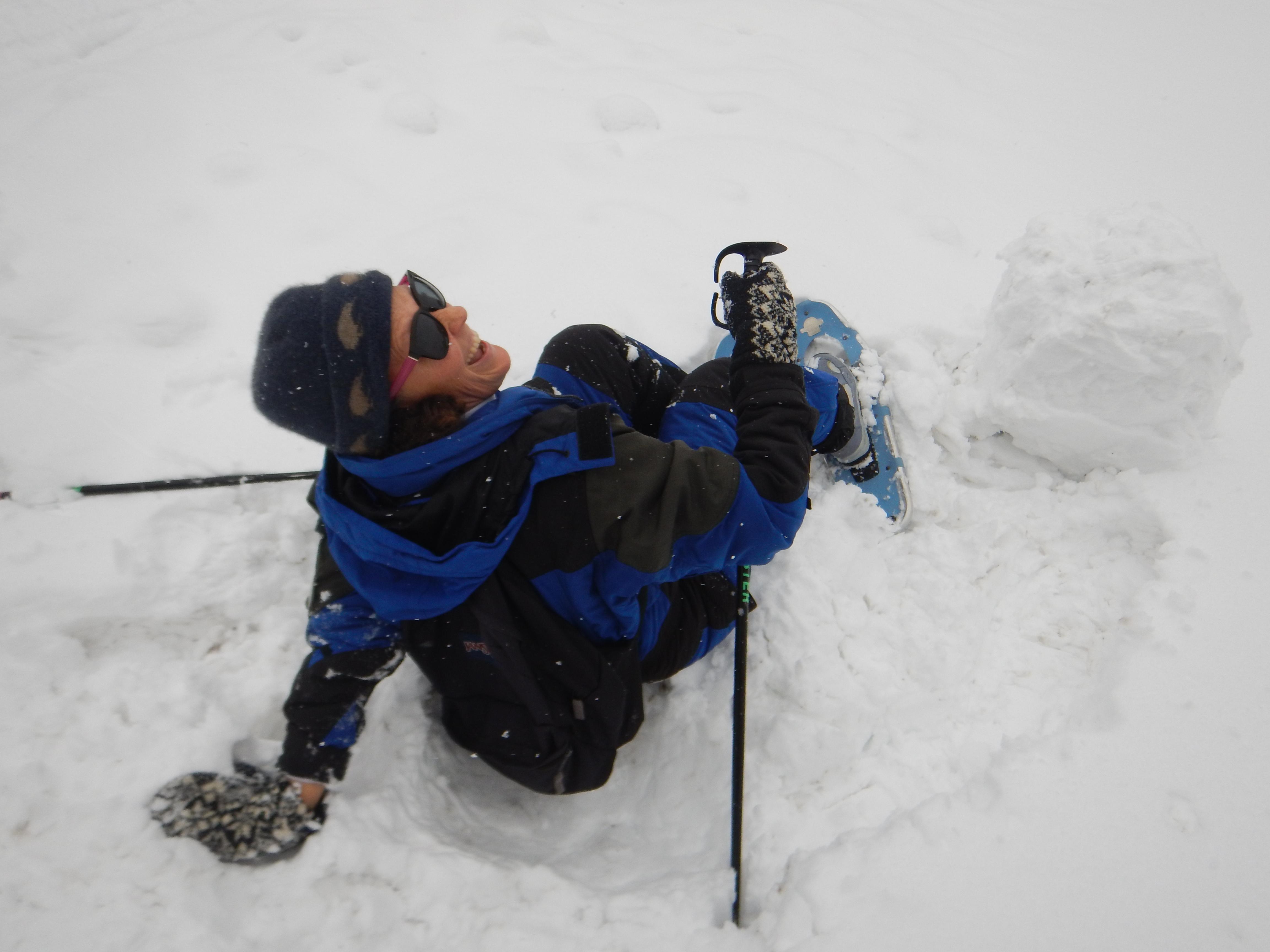 Karen resting snowshoeing