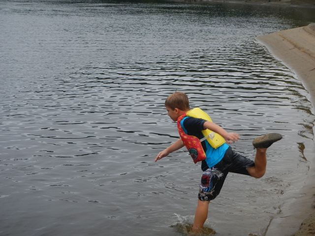 Jumping into the Androscoggin River