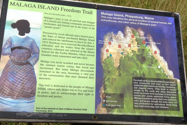 Malaga Island Freedom Trail Sign