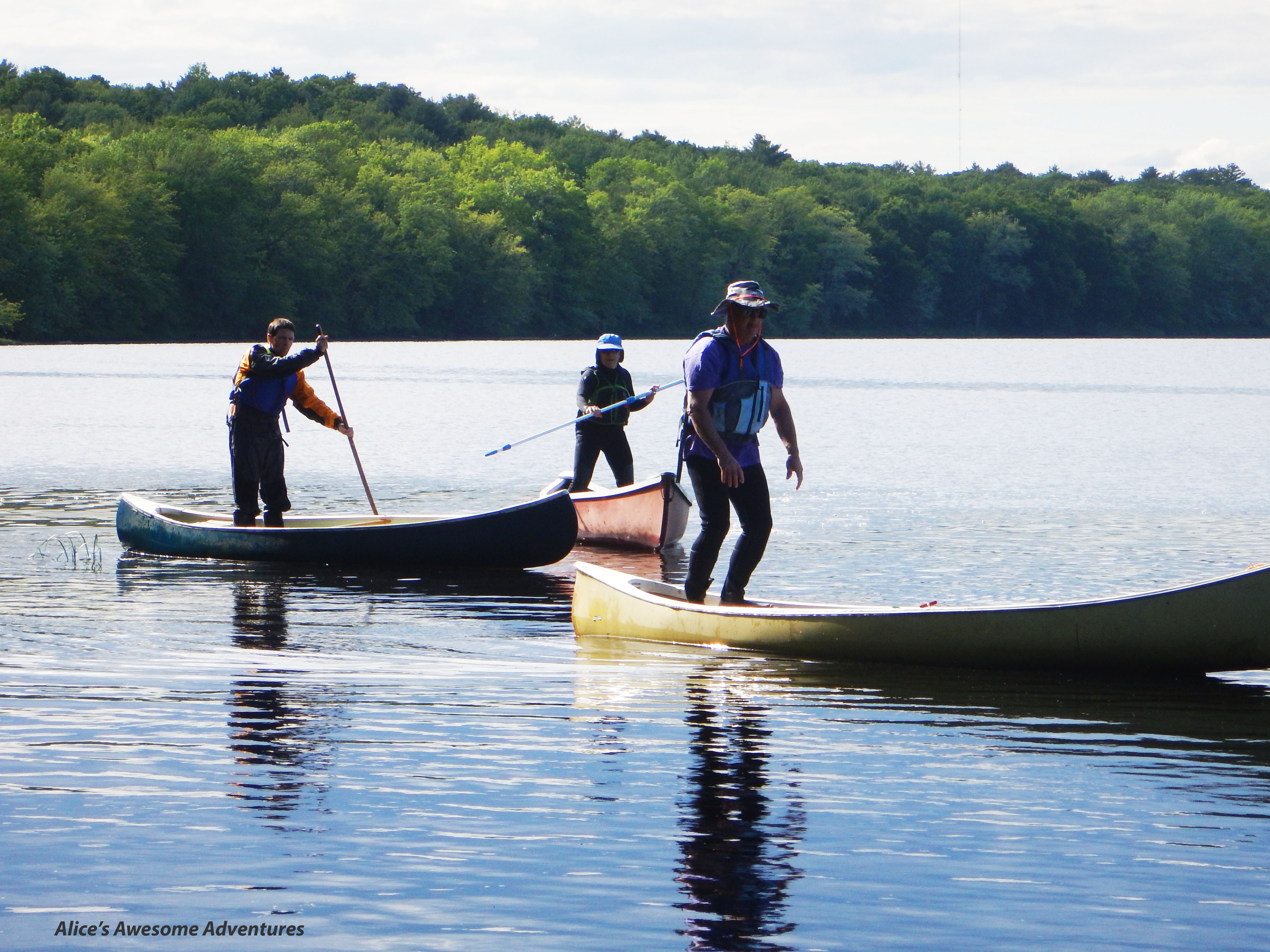 Poling and Gunnelling a canoe